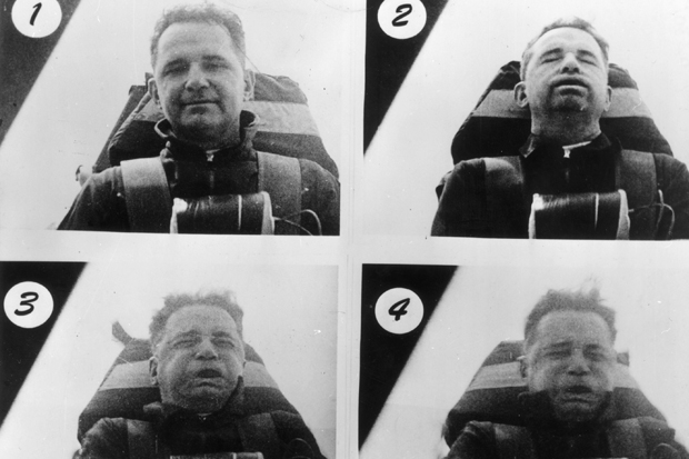 June 1954: These six photos show Colonel John Stapp (1901 - 1999) enduring the effects of acceleration and deceleration of riding in a rocket-propelled research sled. Pictures 1-3 show his appearance in the first five seconds of acceleration as the sled shot up to 421-miles per hour. Pictures 4-6 show the effect of the initial deceleration caused by lack of thrust after the water brake, subjecting its passenger to forces up to 22-Gfs, (one G is the normal of the earthfs gravity). (Photo by Keystone/Getty Images)