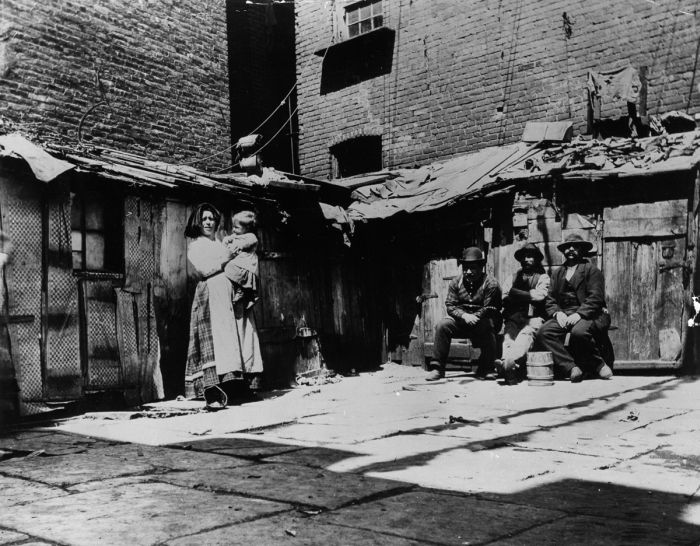 Italian immigrant families in New York on Jersey Street, living in shacks. (Photo by Jacob A Riis/Getty Images)